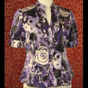 APT.9 purple short sleeve fitted button blouse PM